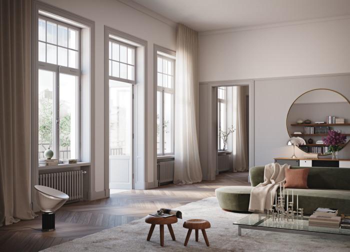 På Nybrogatan 19 har man inspirerats av nutida konst och husets historia för att skapa ett harmoniskt och samtida boende.