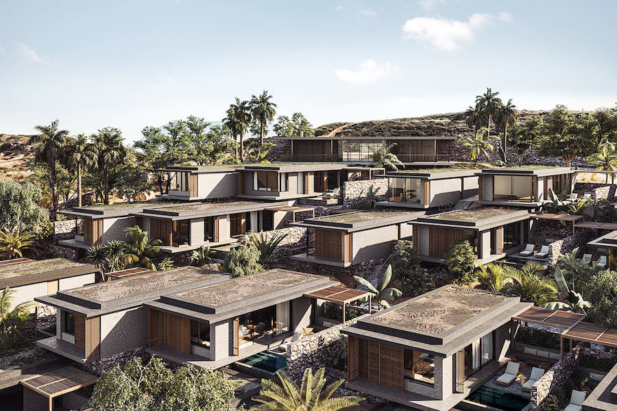 Överblick av några rum som är placerade likt en by.