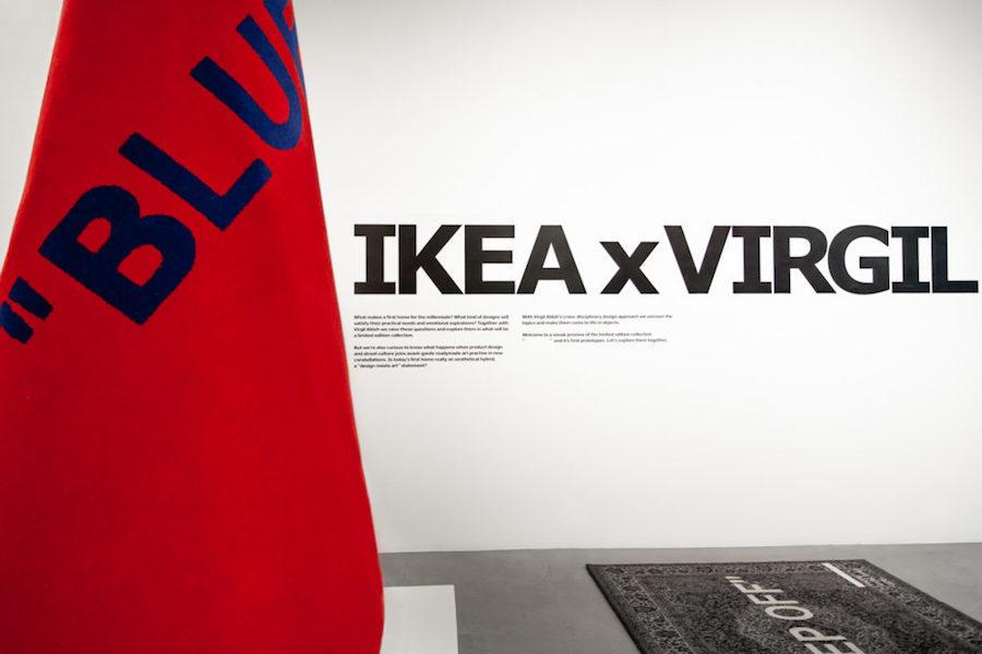 Bild på matta från Ikeas senaste samarbete Markerad tillsammans med Virgil Abloh.