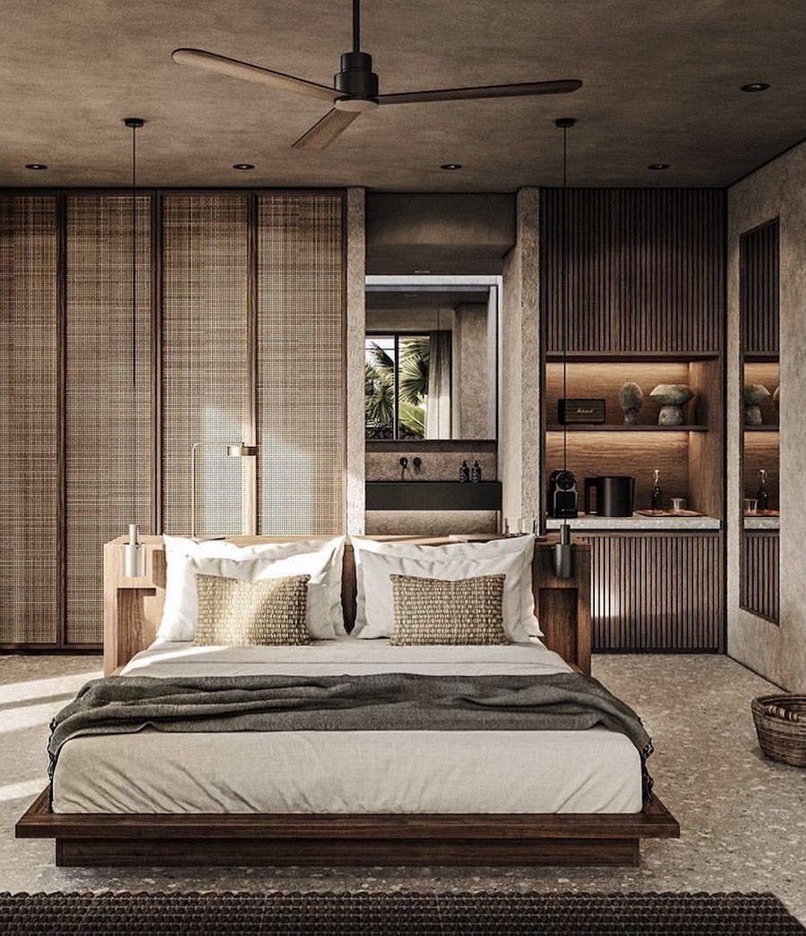 Sovrum med färger ton i ton tillsammans med naturmaterial.