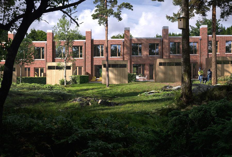 Häradshusen med fasad av tegel som är ett av världens äldsta byggmaterial.