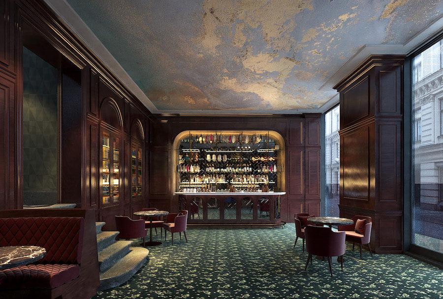 Bank Hotels bar I rustik stil.