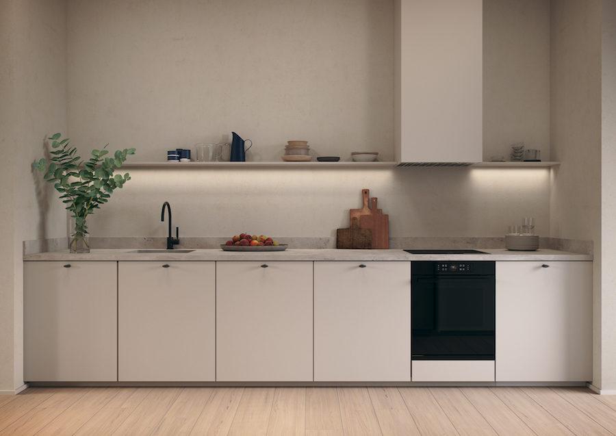 Köket fortsätter i crèmefärgen som genomsyrar radhuset.