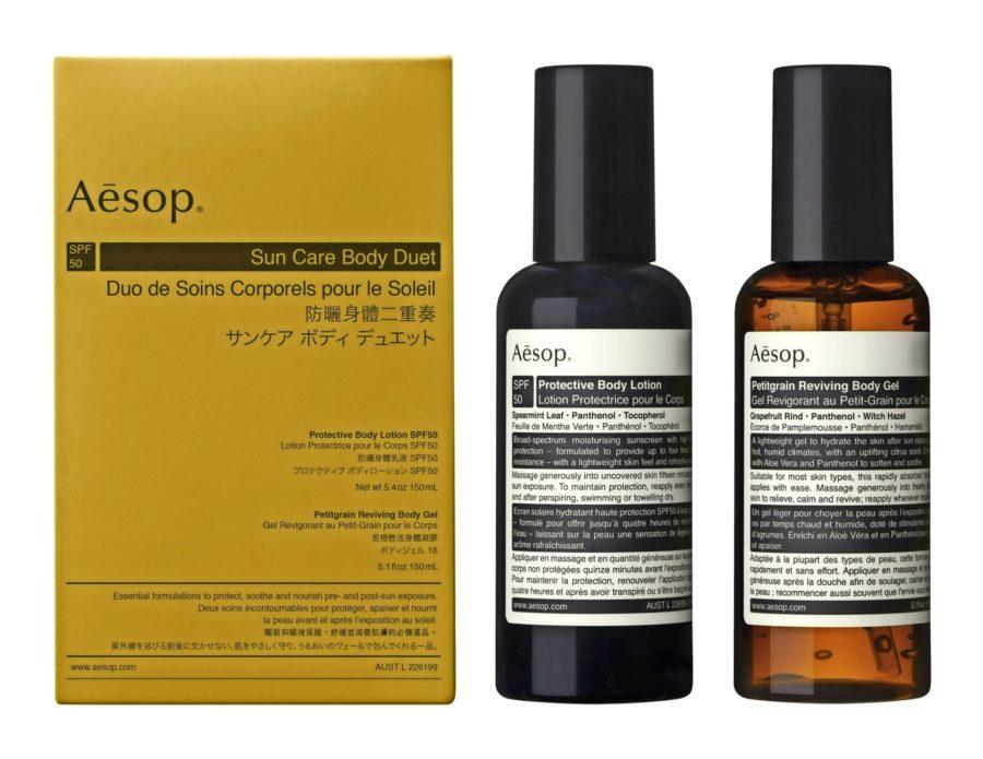 Aesops Protective body lotion SPF50 och Petitgrain reviving body gel
