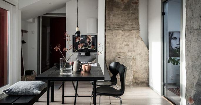 Veckans snyggaste hem: Vindslägenhet med kontraster och exklusiva detaljer