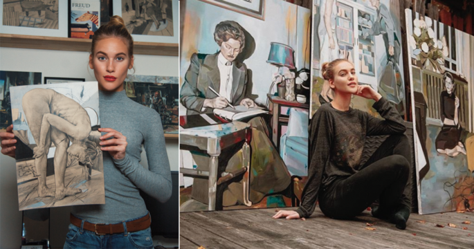 Topp-modellen sadlade om till konstnär – spana in hennes verk