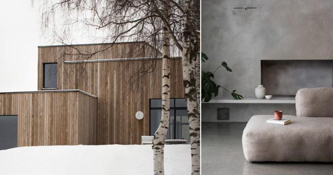 Exklusivt trähus utanför Oslo – inrett i grått och varma trätoner