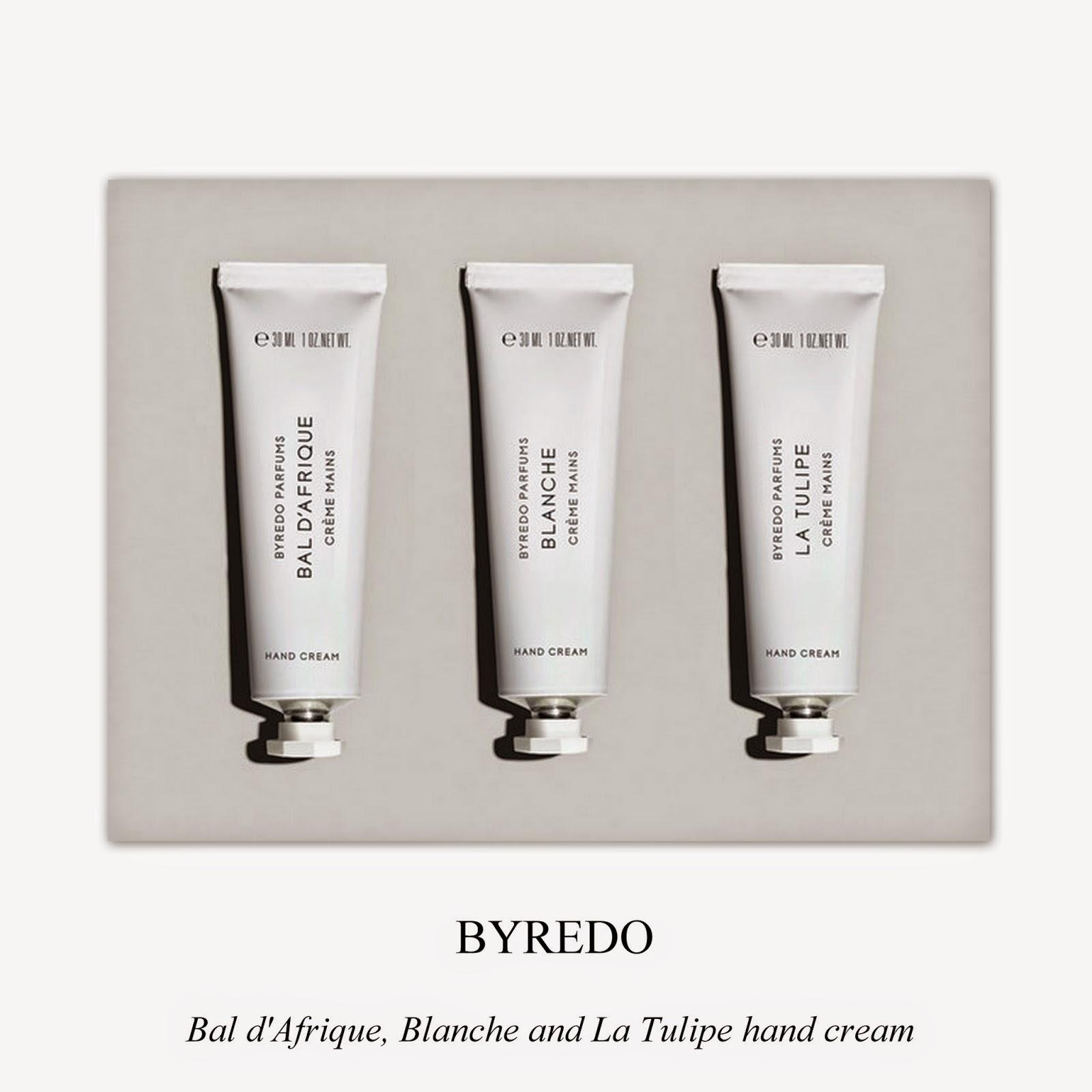 Hand creams from Byredo.