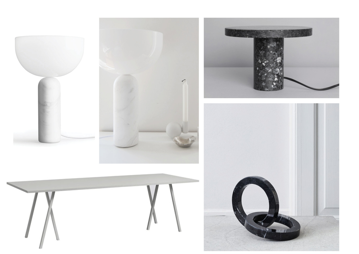 Lamp, marble and dinner table
